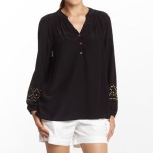 Lilly Pulitzer Black Silk Elsa Top